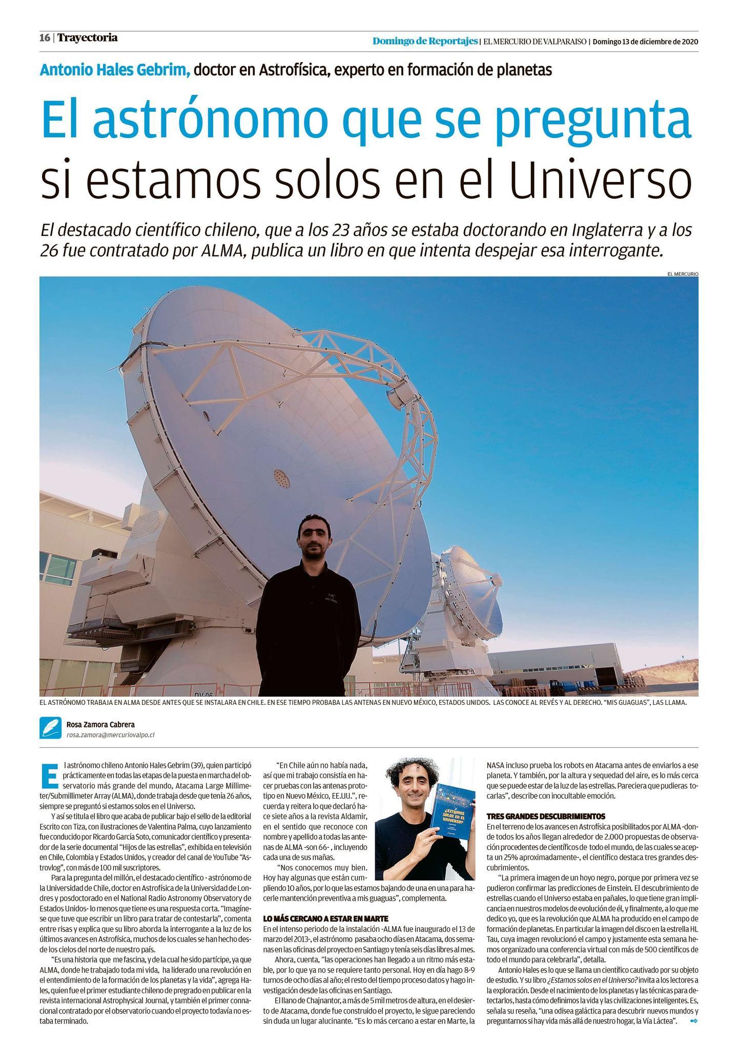 Entrevista a Antonio Hales en Diario El Mercurio de Valparaíso