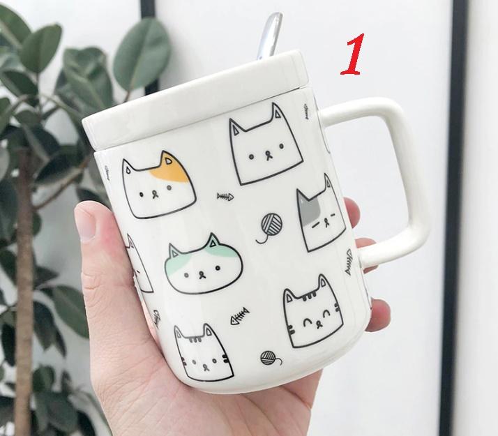 Taza gatos varios con tapa y cuchara