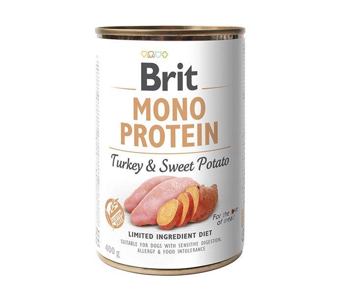 Brit Mono Protein lata monoproteica de pavo y bonitato 400g