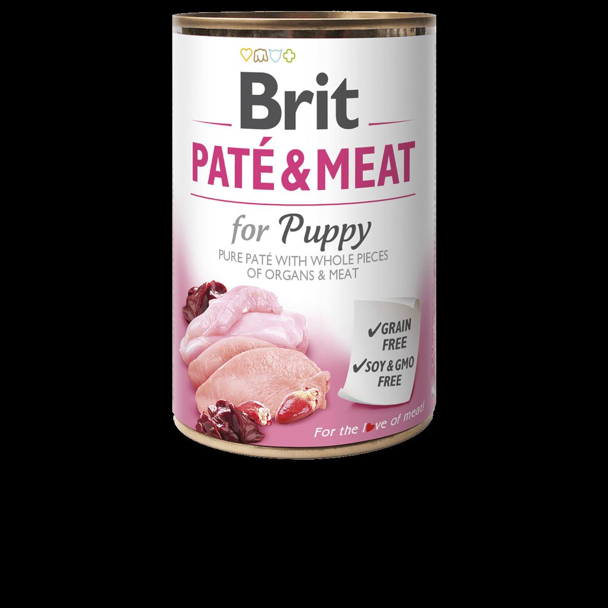 Brit PATE & MEAT PUPPY lata de pollo con pavo y paté 400gr