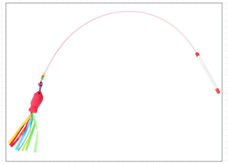 Caña Metalica con Juguete de pez Rosado