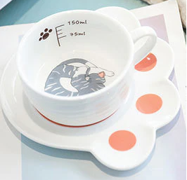 taza de gato con plato 150ml