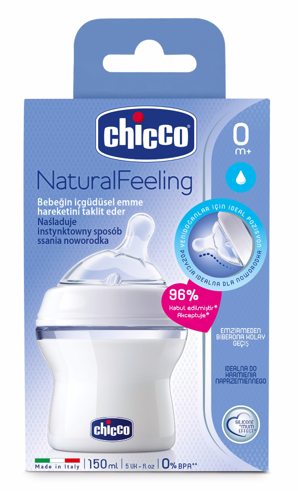 Chicco Biberão Natural Feeling +0 meses 150 mL Branco
