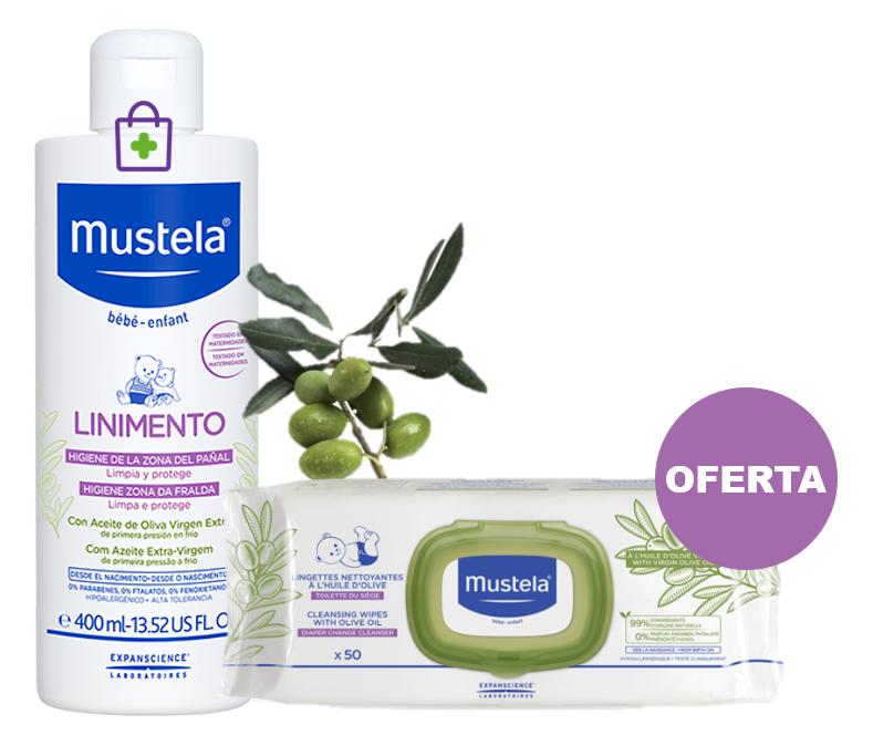 Mustela Bebe Muda Fralda Linimento 400 mL + Toalhetes de Limpeza com Azeite 50 unidades (OFERTA)