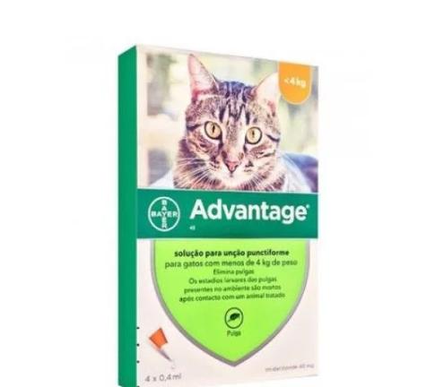 Advantage Gatos <4Kg 0,4mlx4 Pipetas Solução Punctiforme