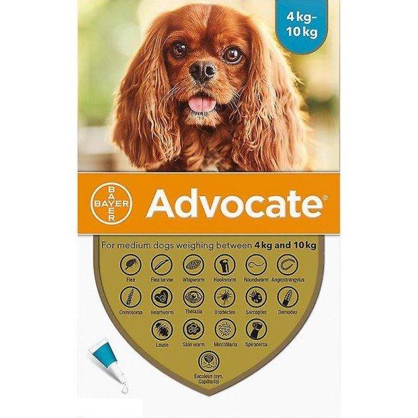 Advocate Cães 4-10kg, 100/25mg 1mlx3 Pipetas Solução Punctiforme