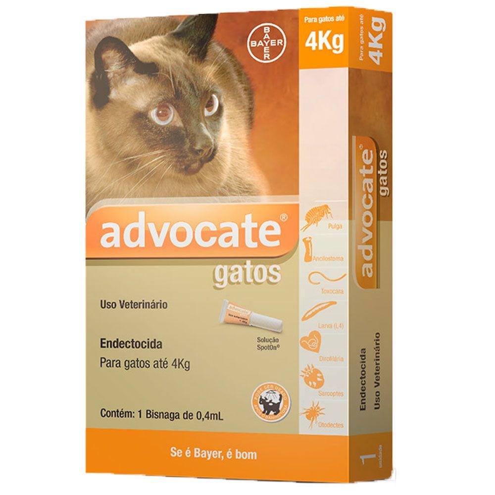 Advocate Gatos Até 4kg, 40/4mg 0,4mlx3 Pipetas Solução Punctiforme