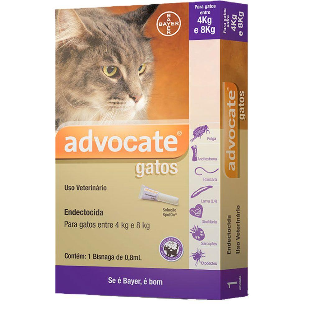 Advocate Gatos 4-8kg, 80/8mg  0,8mlx3 Pipetas Solução Punctiforme