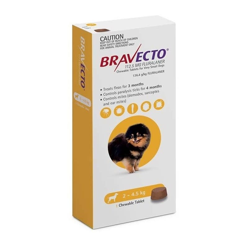 Bravecto Comprimido Mastigável Cães 2-4.5 kg x1 comprimido