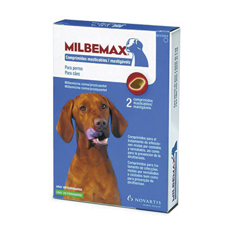 Milbemax 12,5/125mg Cães x2 Comprimidos Mastigáveis
