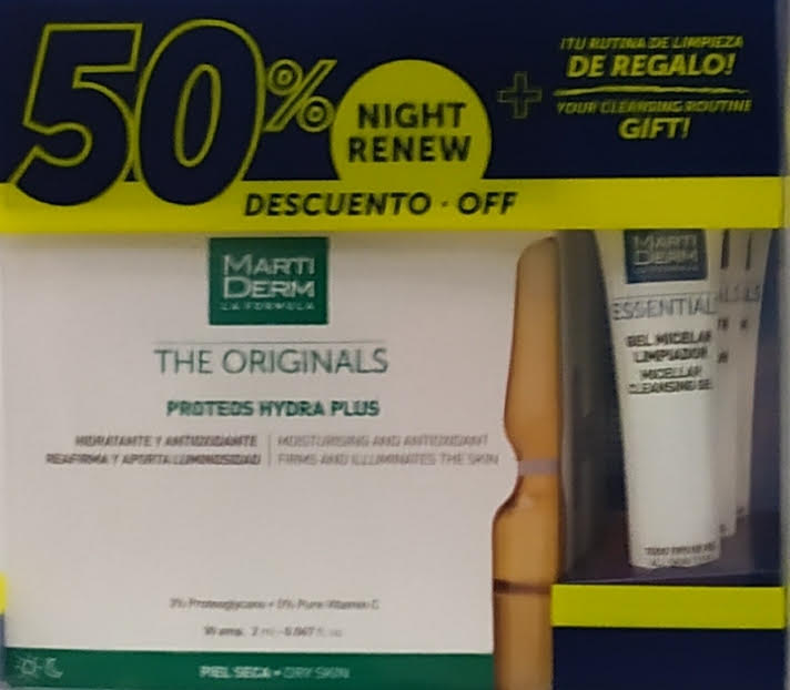 Martiderm The Originals Proteos Hydra Plus Desc 50% no Platinum Night Renew+Oferta Esfoliante Facial+Hidro Mask+Gel Micelar