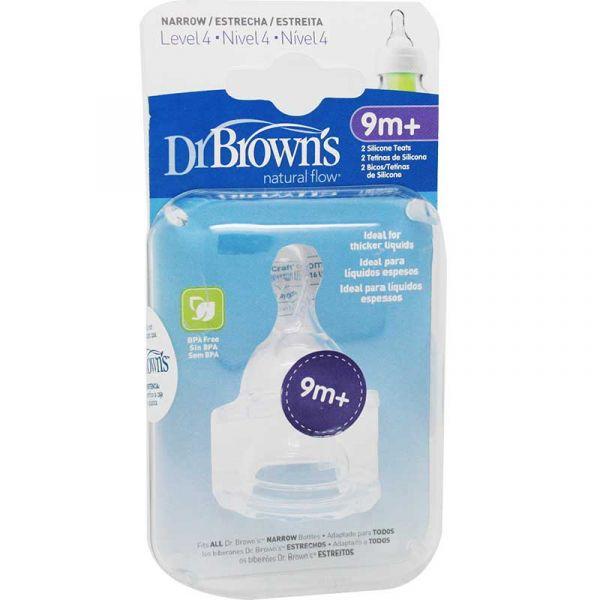 Dr Brown's Tetinas Biberões Natural Flow Estreitos 9m+ Nível 4  x2 Unidades