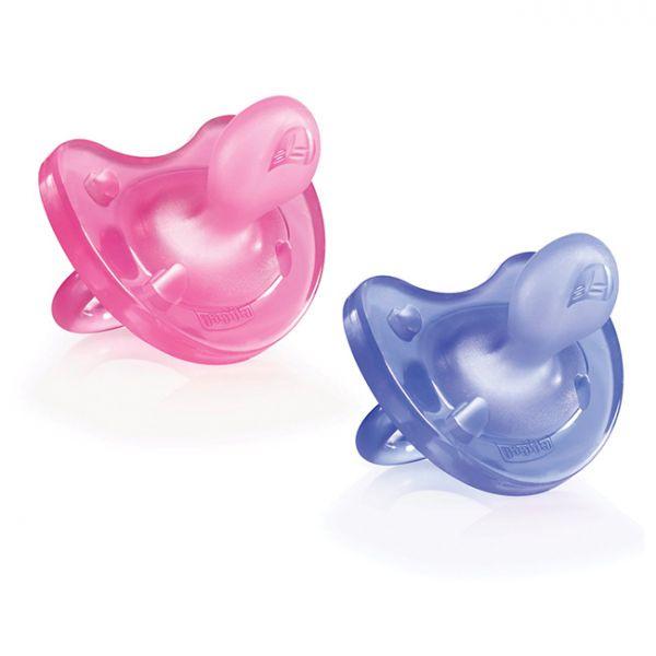 Chicco Chupeta Physio Soft Silicone 6-12m (2 unidades) Rosa/Roxo