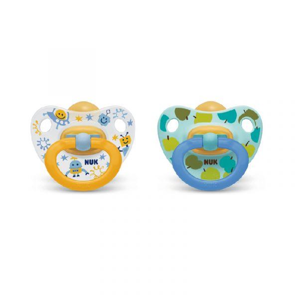 Nuk Happy Kids Chupeta Látex 6-18m (2unid) Laranja+Azul