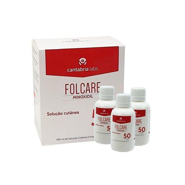 Folcare Minoxidil Solucão Cutânea 50 mg/ml 60ml  x 3 Frascos