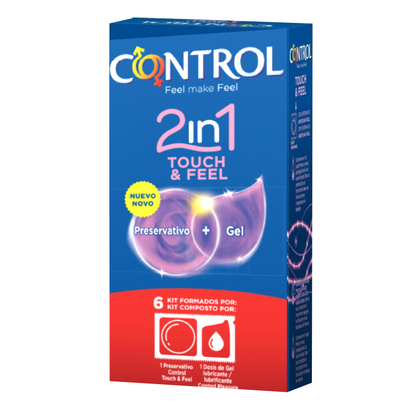 Control 2in1 Touch Feel Kit Preservativo + Gel x6