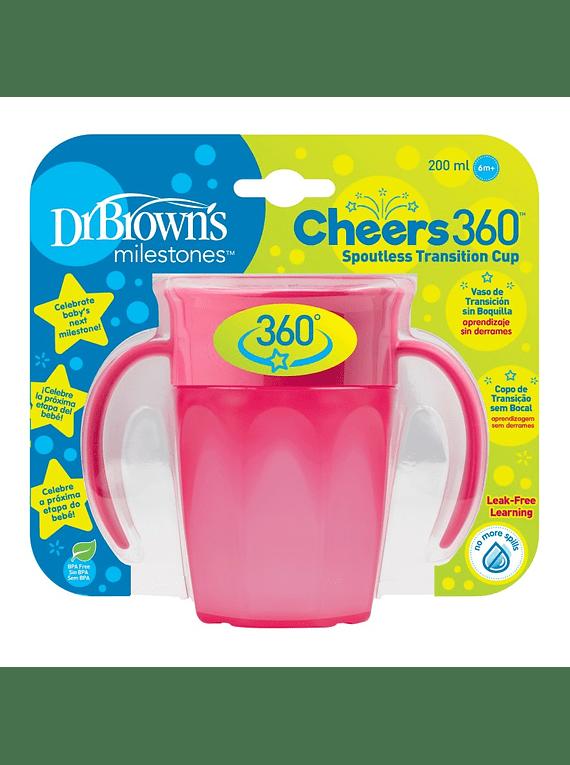 Dr Brown's Copo de Aprendizagem Cheers 360º Rosa