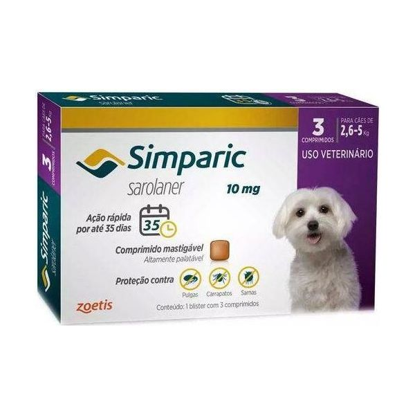 Simparica Antiparasitário 10mg 2,5Kg - 5Kg 3 Comprimidos