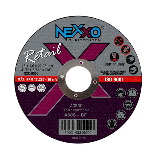 DISCO CORTE INOX 4 1/2'' X 1.0MM NEXXO