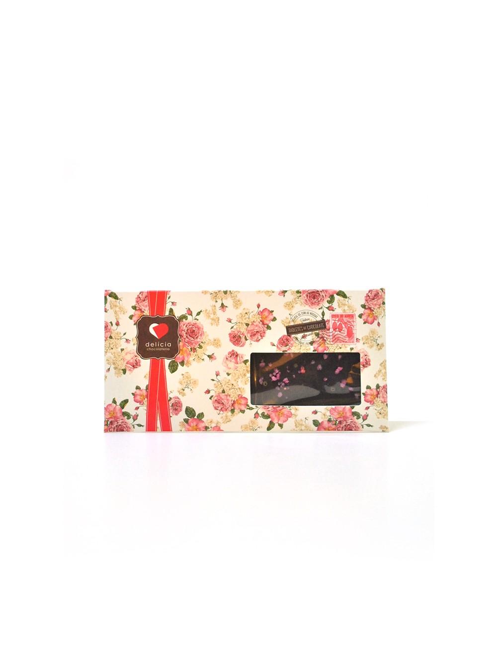 Tablete de Chocolate Negro c/ Rosa Cristalizada