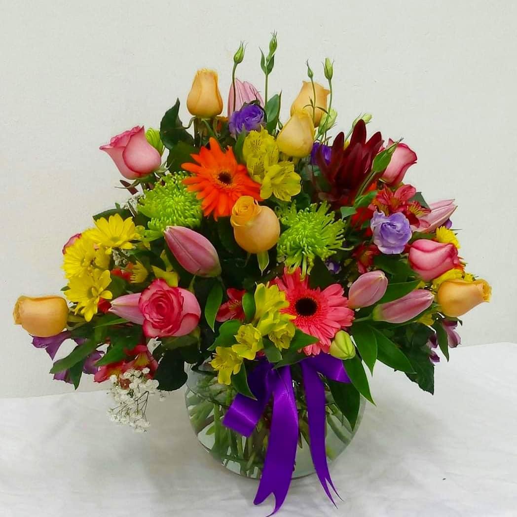 Pecera con Flores Mixtas