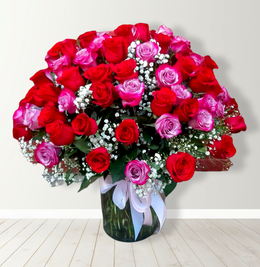 Florero con 100 Rosas Multicolor