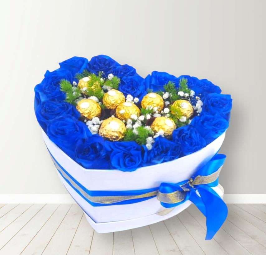 Box con Rosas Azules y Bombones