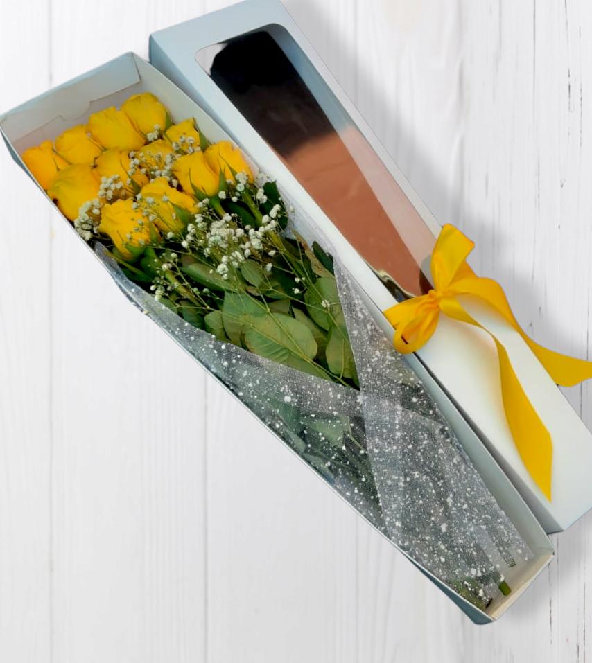 Caja de 12 rosas Amarillas