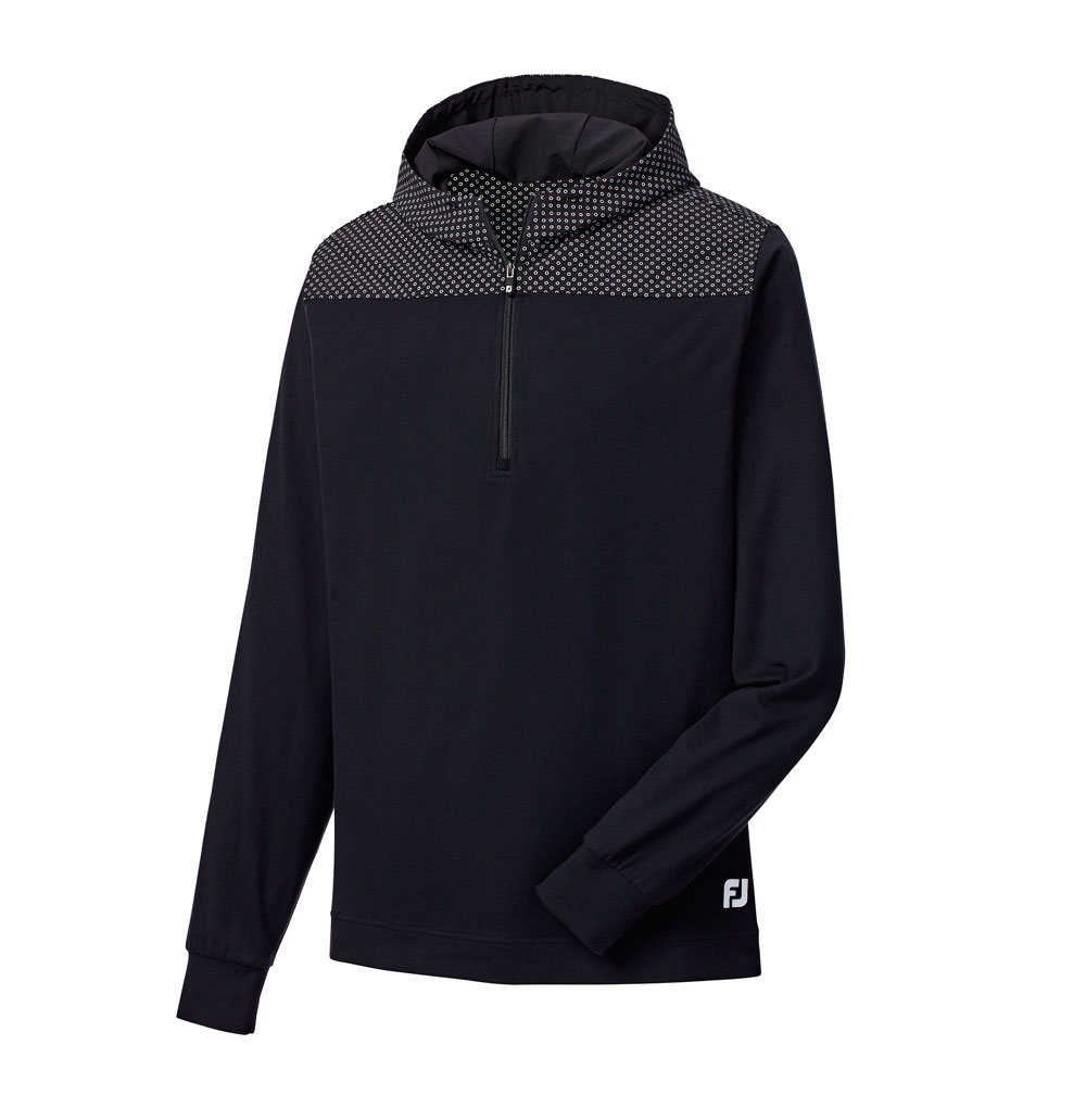 Footjoy – Quater Zip Midlayer Woven Yoke and Hood Black