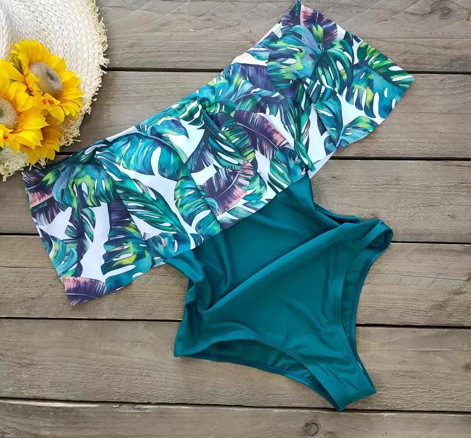 Traje de baño floral sin hombros Verde