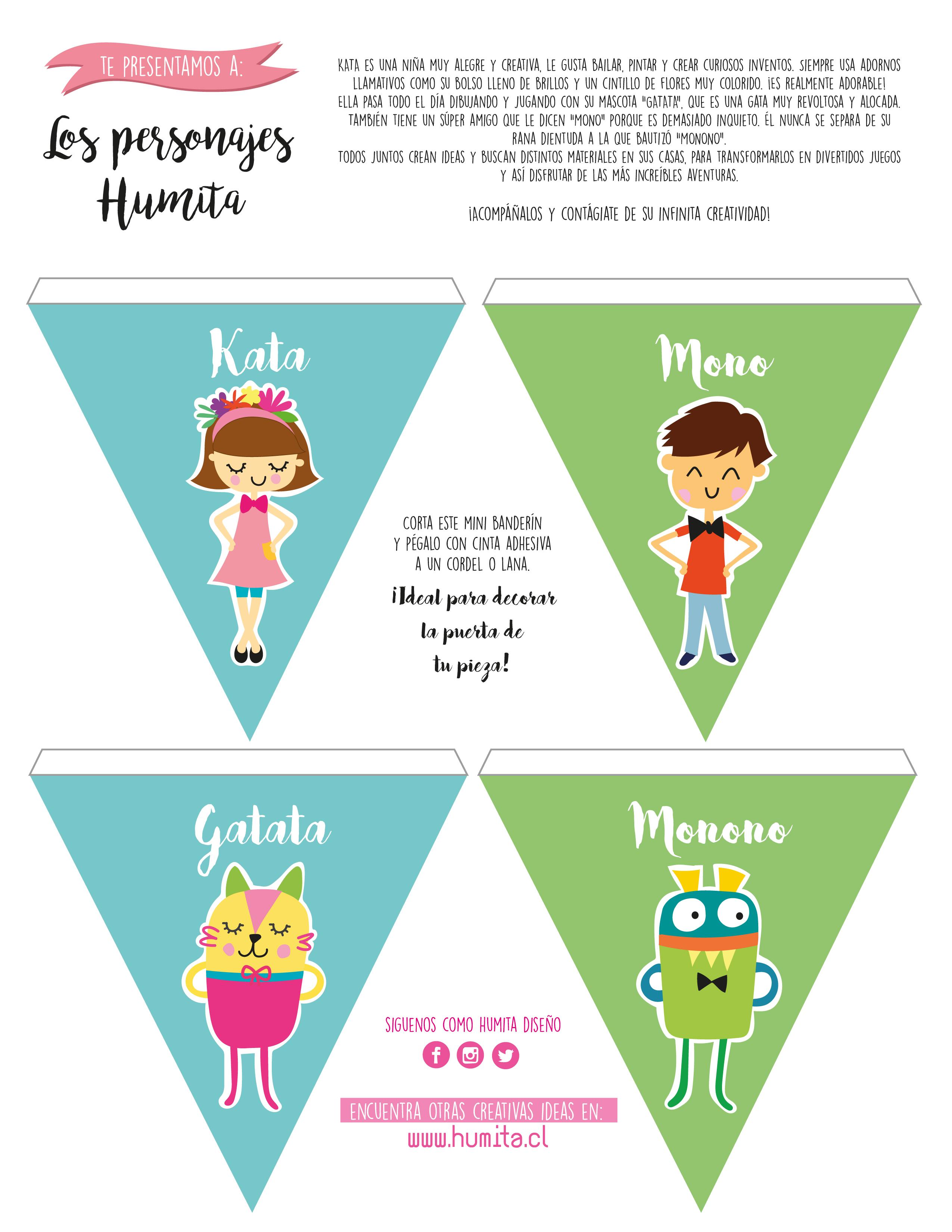 Personajes Humita en banderín DIY