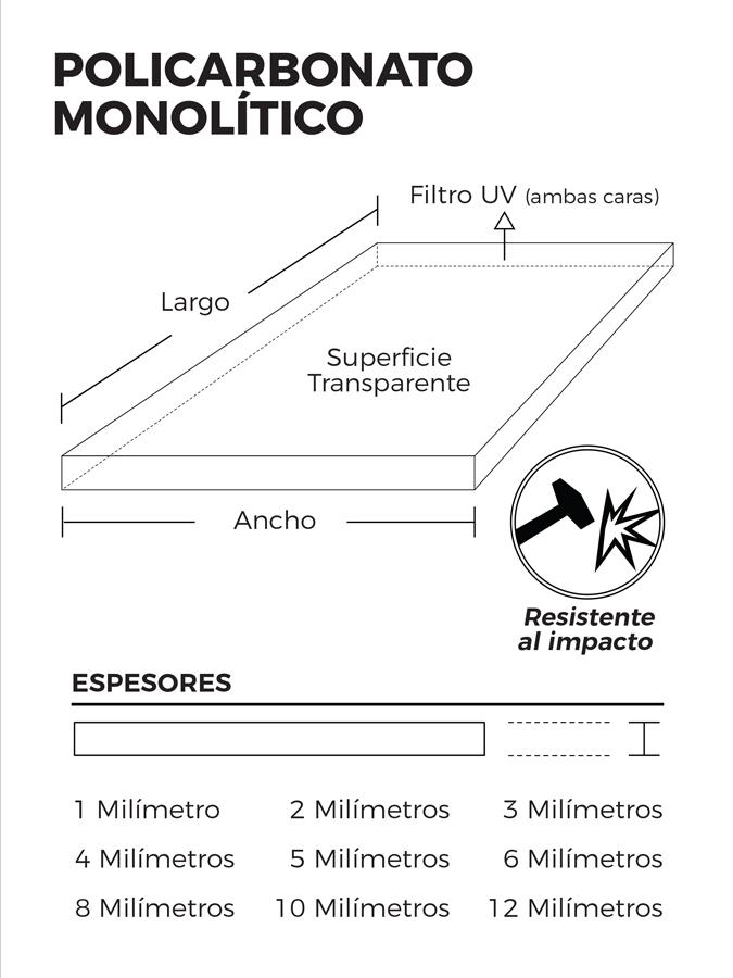 Polic. Monolitico 3.20x1.22x4mm Transparente