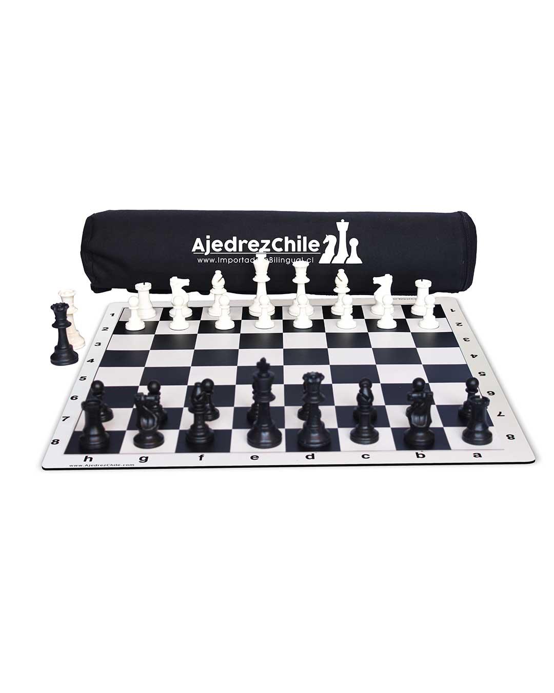 Tablero de ajedrez goma negro con piezas grandes peso normal y bolso