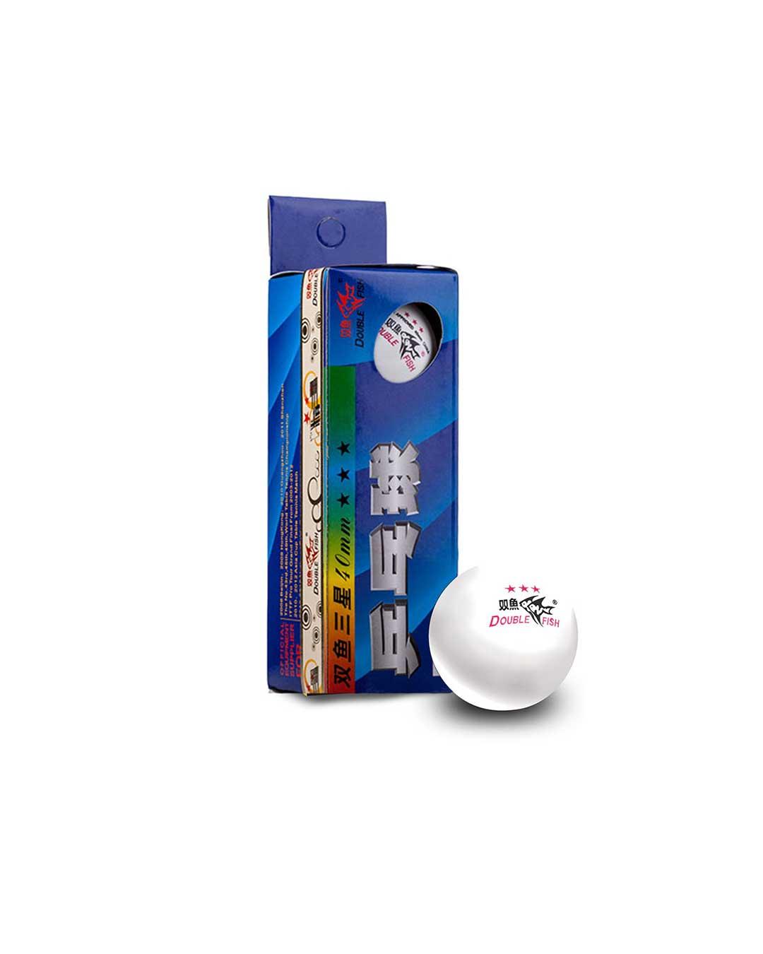 Pelota de Tenis de Mesa marca Double Fish 3 estrellas material Celuloide (incluye 3 pelotas blancas)