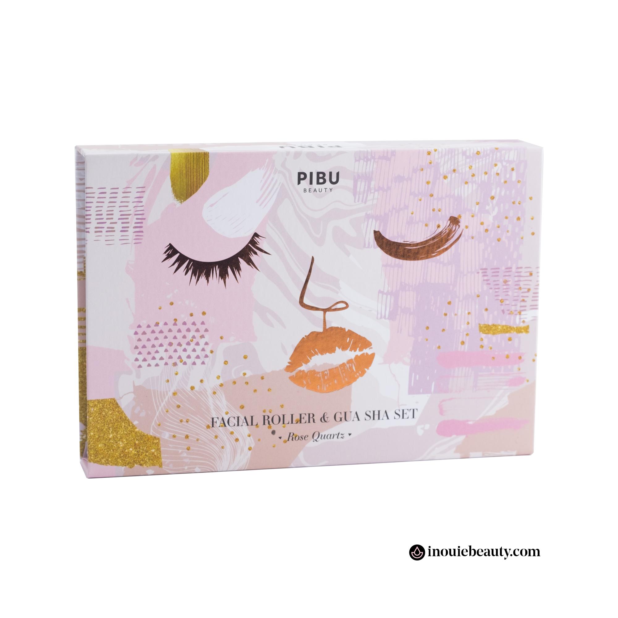 Pibu Beauty Rose Quartz Facial Roller & Gua Sha Set