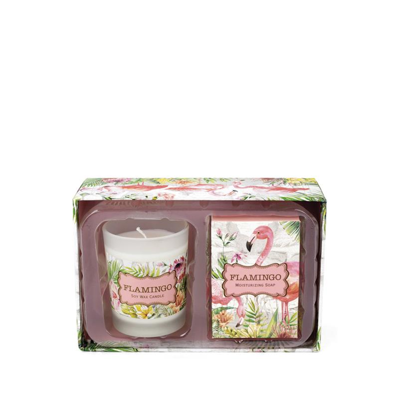 Set Jabón y Vela Flamingo