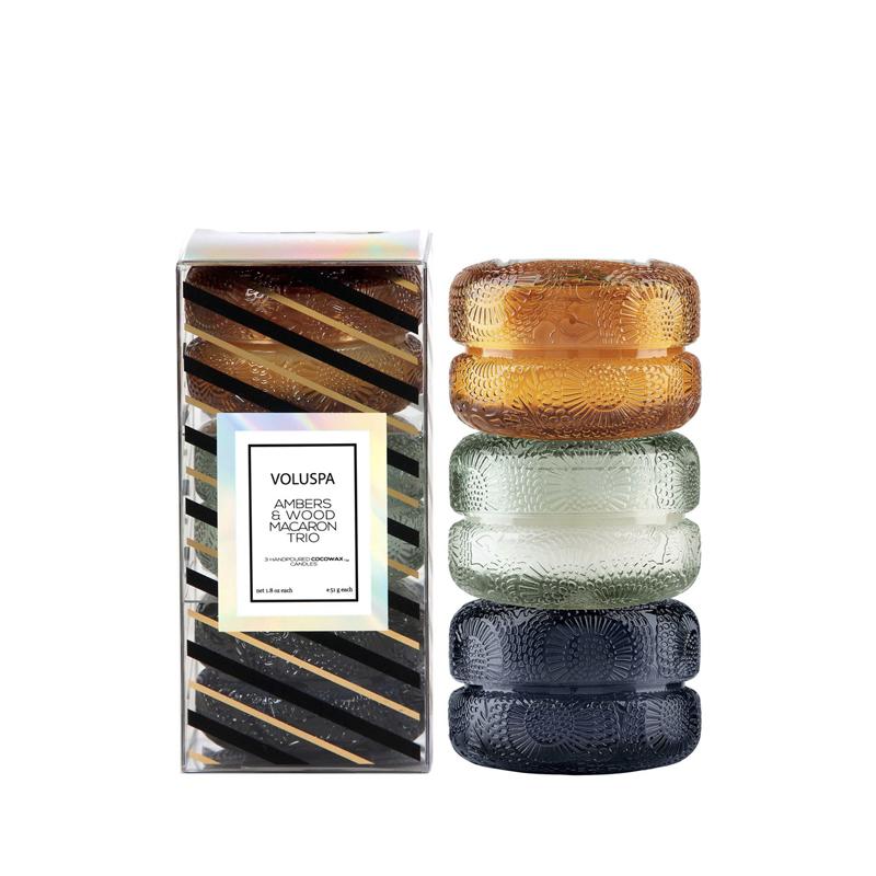 Set 3 Velas Macaron 51 g Baltic Amber, French Cade Lavender y Moso Bamboo
