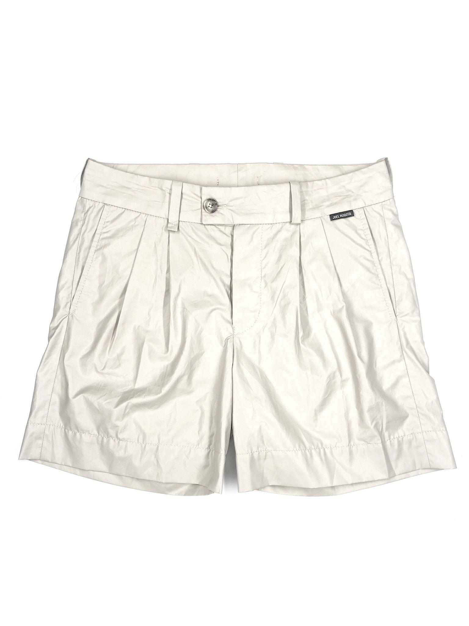 Beige Wrinkled Shorts