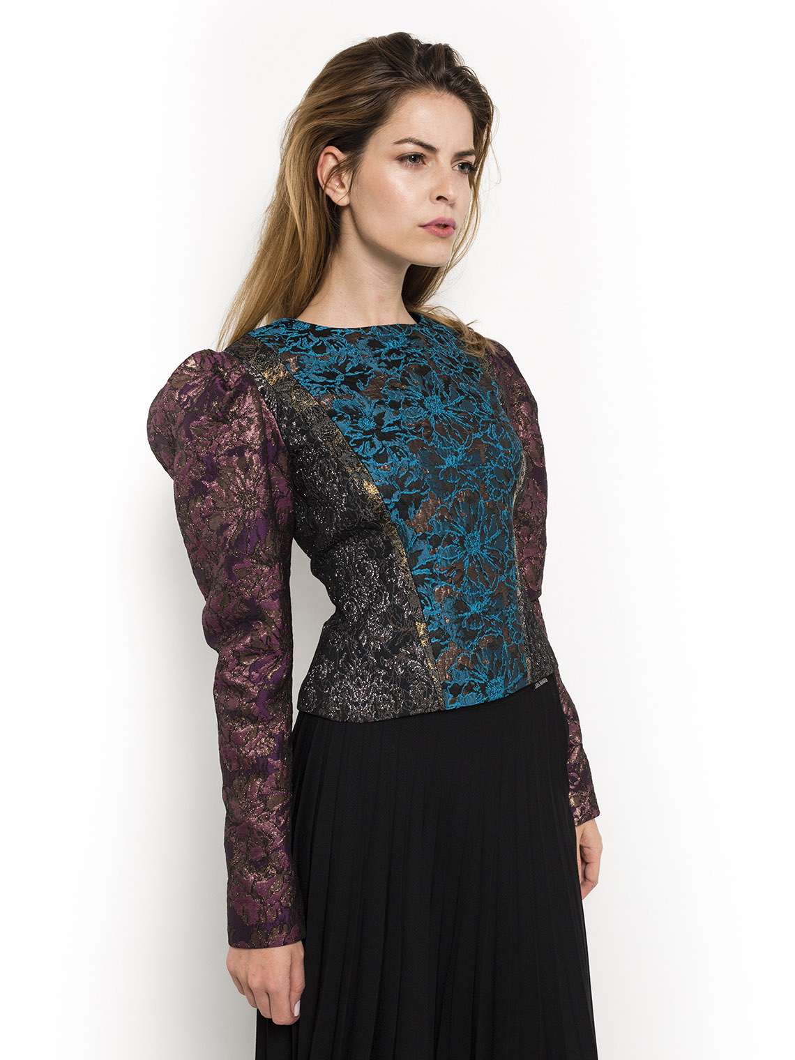 Long-sleeved Brocade Top