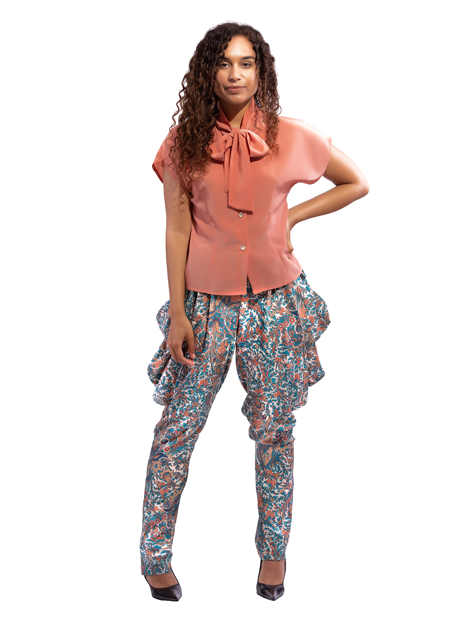 Patterned Cowl Pants