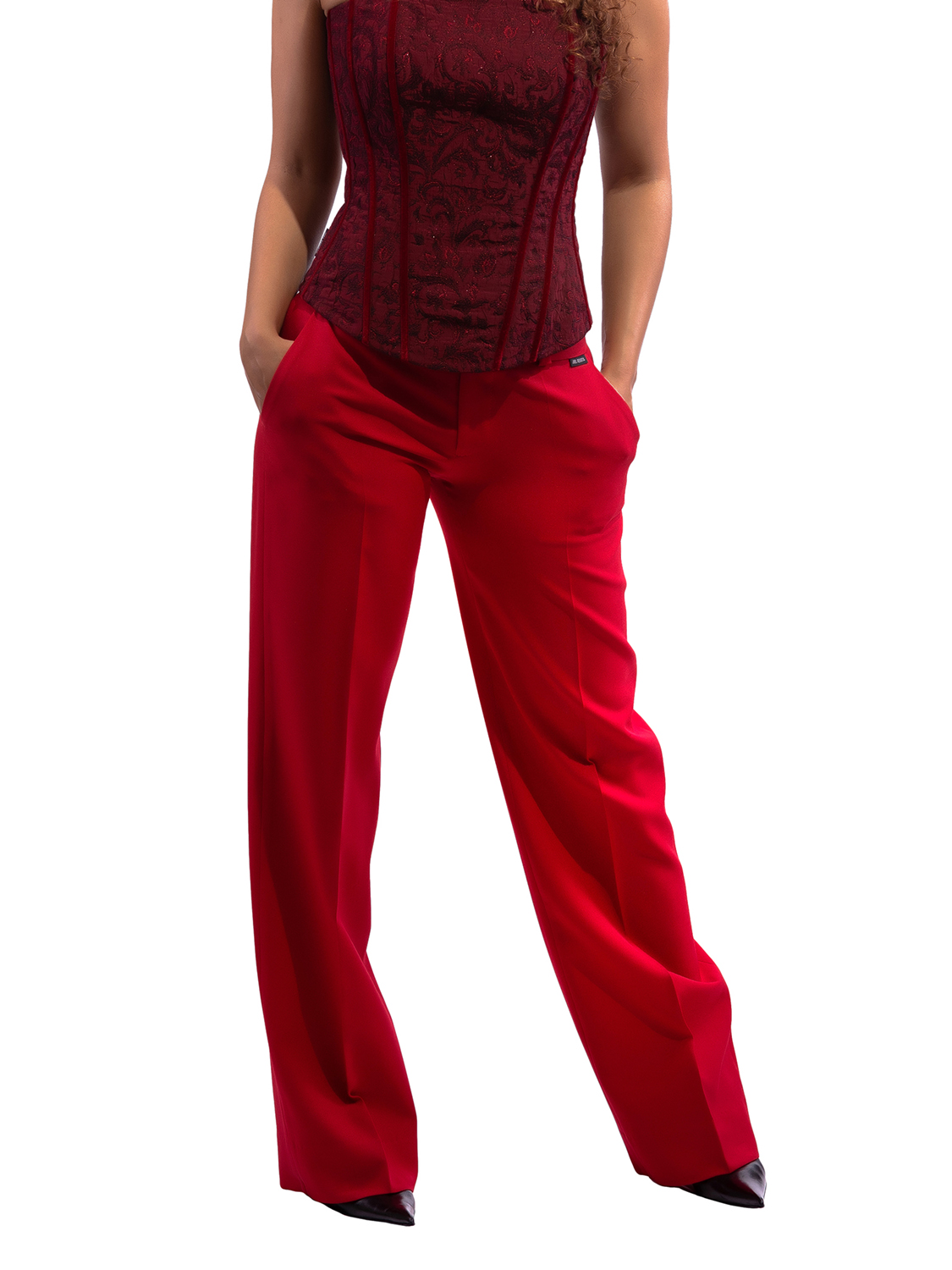 Red Wide-Leg Pants