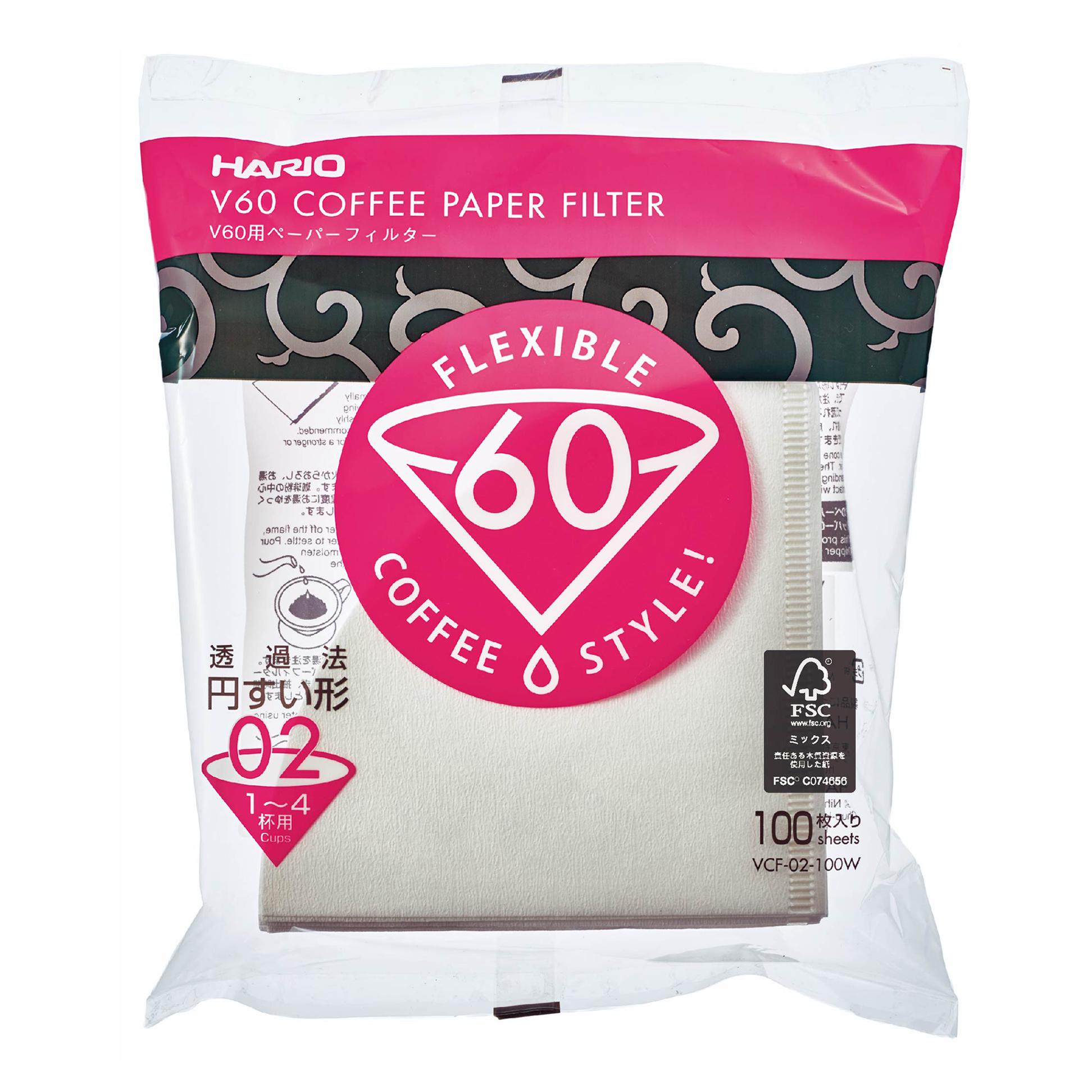V60 Filtro de papel blanco 02 - 100 Und