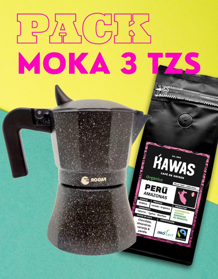 PACK MOKA 3 TZS + CAFÉ 250 G.