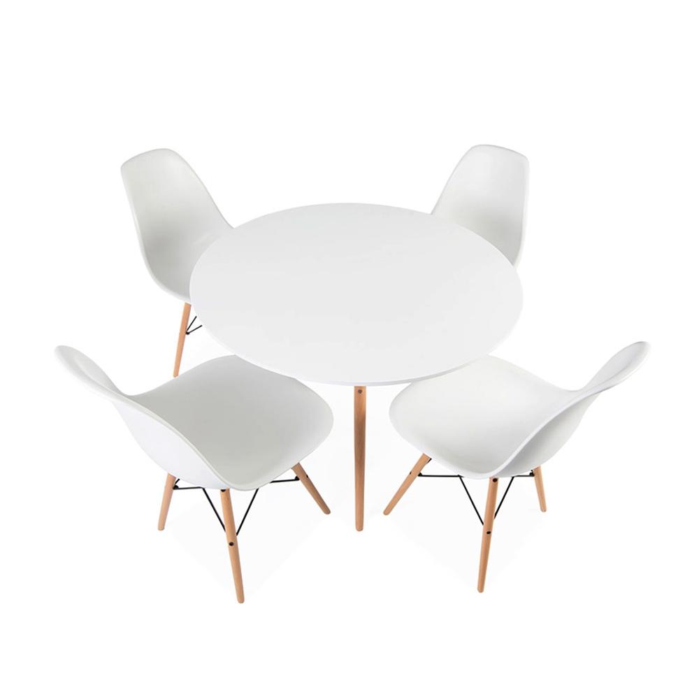Comedor circular estilo Eames 120 cms + 6 Sillas Eames DSW colores a elección
