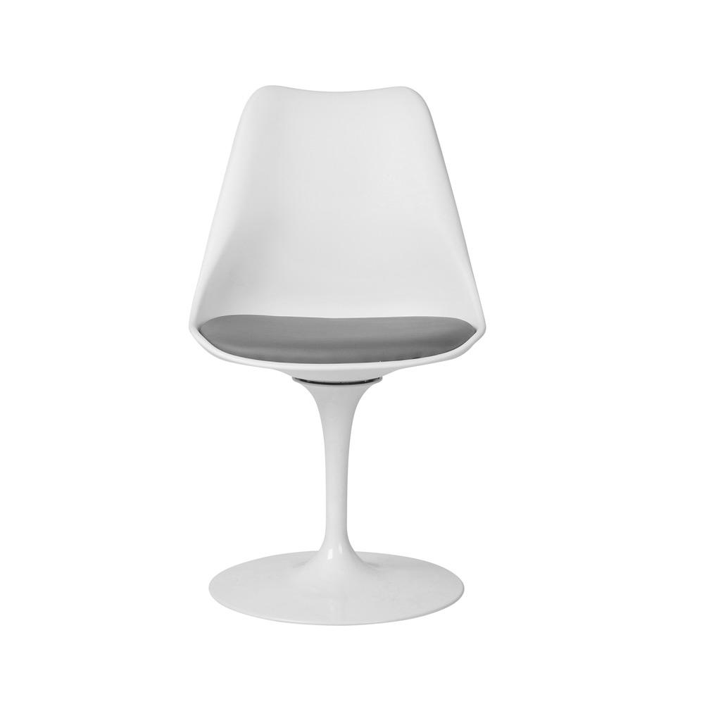 Silla modelo Tulip de Eero Saarinen en color Blanco con cojín gris