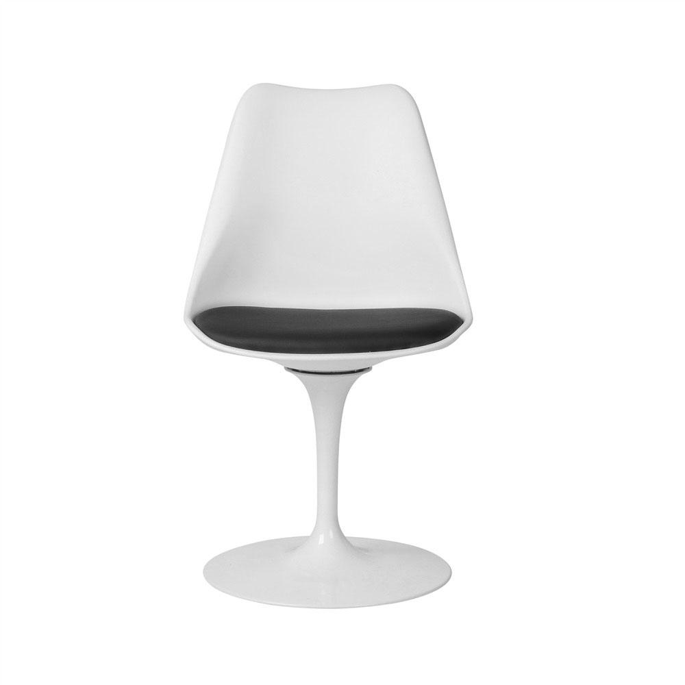Silla modelo Tulip de Eero Saarinen en color Blanco* con cojín negro