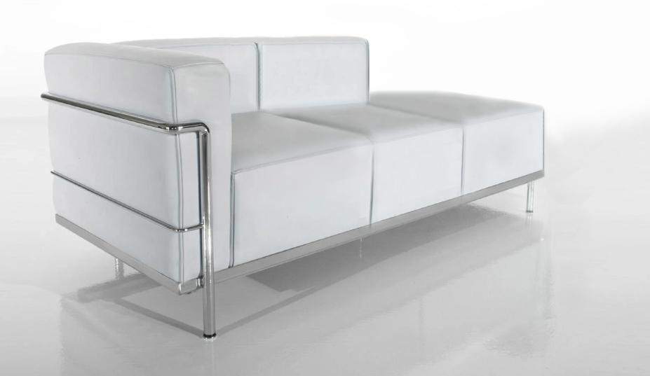 Sofá Lounge tres cuerpos modelo LC3 Le Corbusier Daybed ecocuero Blanco