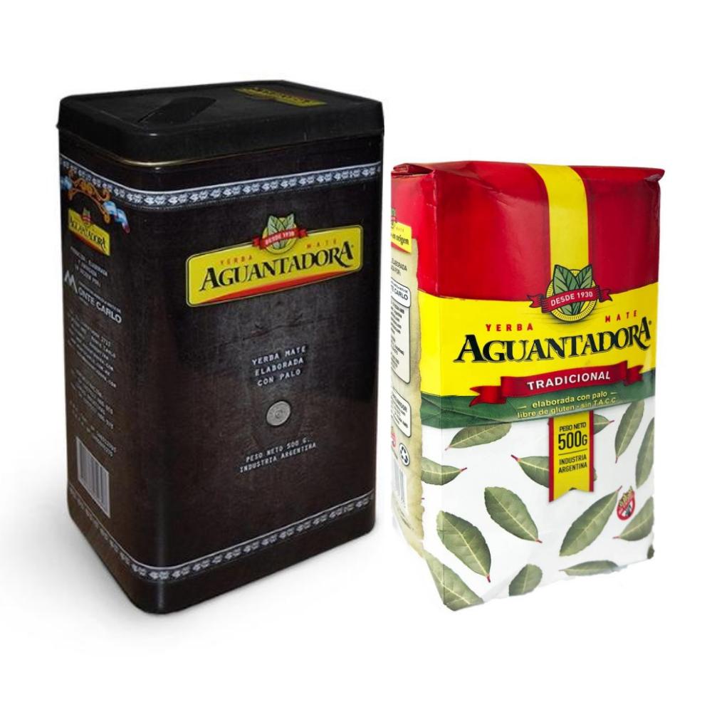 Pack Lata yerbera 500g y yerba mate Aguantadora tradicional 500 gramos.