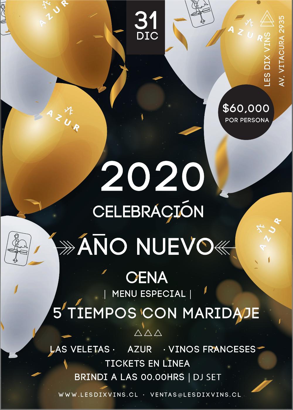 Cena Año Nuevo en 5 tiempos con maridaje y DJ set