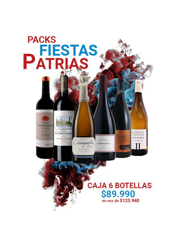 Caja de 6 botellas de vino frances